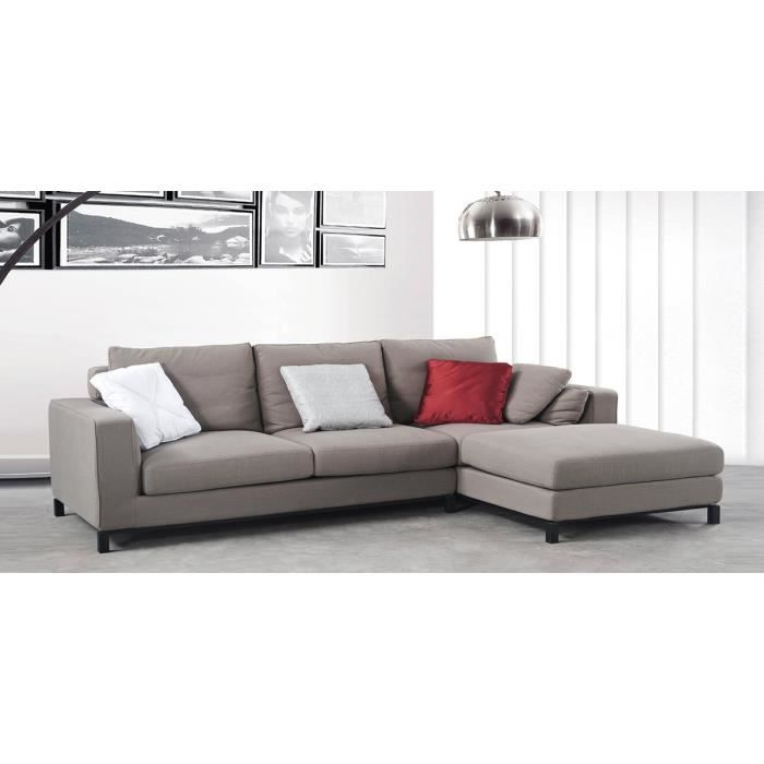 Canapé d angle droit en tissu taupe Cavally Achat Vente