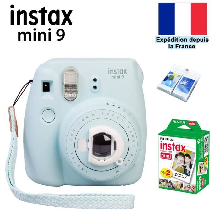 fujifilm instax mini 9 appareil photo impression instantan e bleu givr plus fuji 20 photo. Black Bedroom Furniture Sets. Home Design Ideas