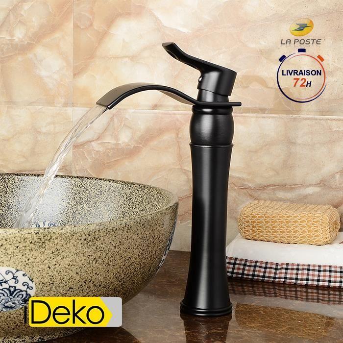 iDeko® Robinet salle de bain cascade mitigeur vasque (haut) peintre Noir  rétro – style