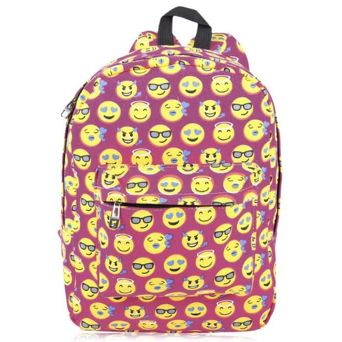 Mignon Imprimer Smiley Toile Emoji Sac A Dos D Rose Achat