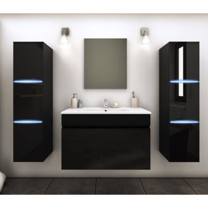 paris prix ensemble meuble salle de bain lecce 80cm noir achat vente salle de bain. Black Bedroom Furniture Sets. Home Design Ideas