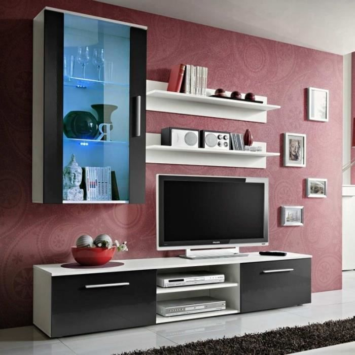 paris prix meuble tv mural design galino v white noir. Black Bedroom Furniture Sets. Home Design Ideas