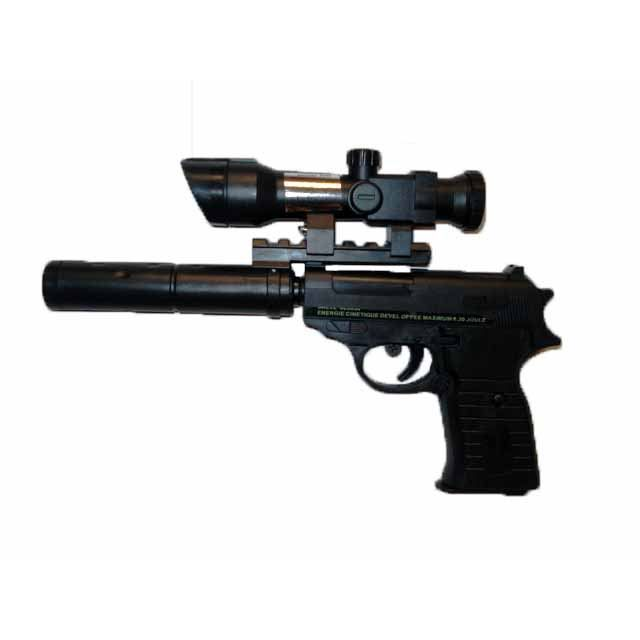 pistolet silencieux noir a billes 6 mm avec laser achat vente airsoft arme a bille. Black Bedroom Furniture Sets. Home Design Ideas