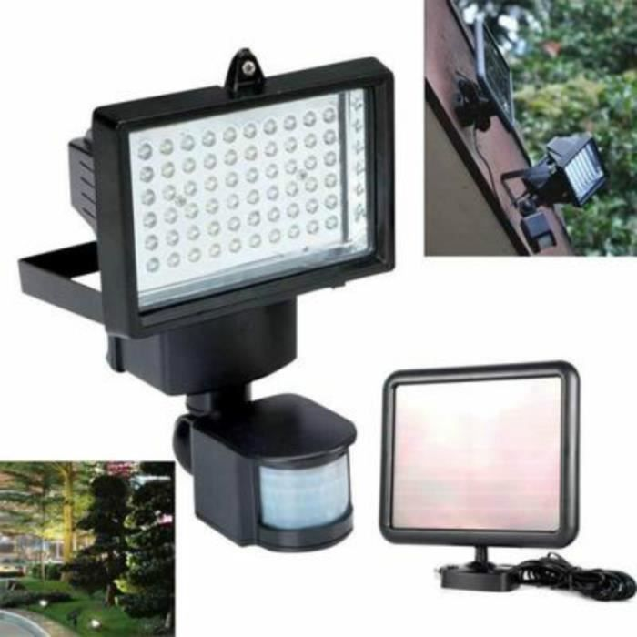 60 led solaire pir lampe de s curit d tecteur de mouvement lumi re crue pour jardin garage. Black Bedroom Furniture Sets. Home Design Ideas
