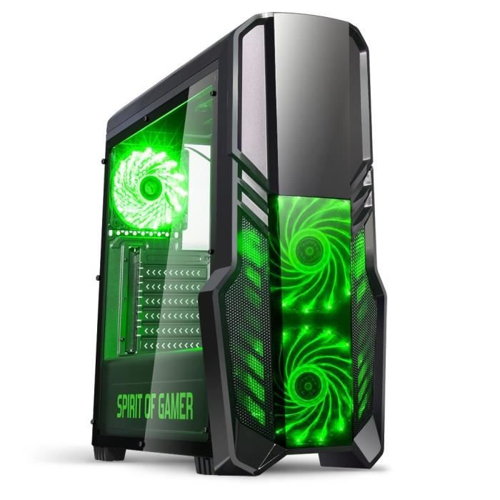 spirit of gamer bo tier pc gamer rogue ii vert prix pas cher cdiscount. Black Bedroom Furniture Sets. Home Design Ideas