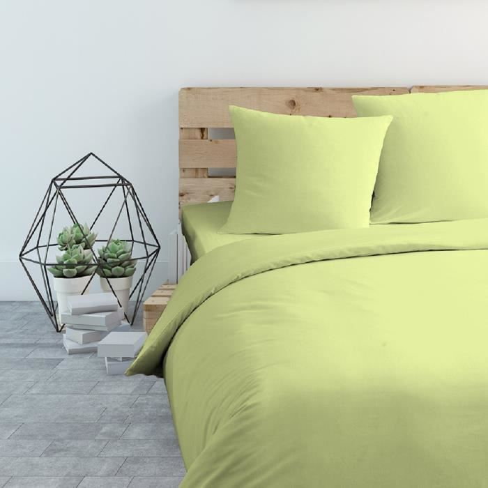 cote deco housse de couette microfibre 140x200 cm vert anis ebay. Black Bedroom Furniture Sets. Home Design Ideas