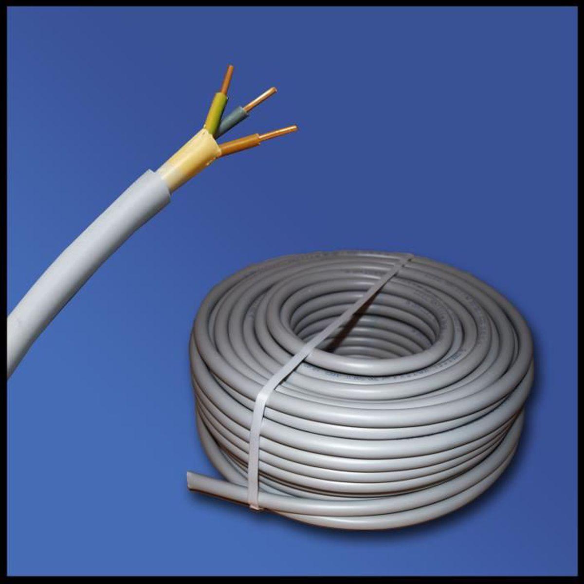C/âble souterrain NYY-J avec 3 brins de 1,5/mm/² Pour circuit de courant fort Vendu au m/ètre Ligne de terre en/PVC noir 35 m 25 m 50 m Exemple:20 m Coupe par pas de 1 m/ètre etc