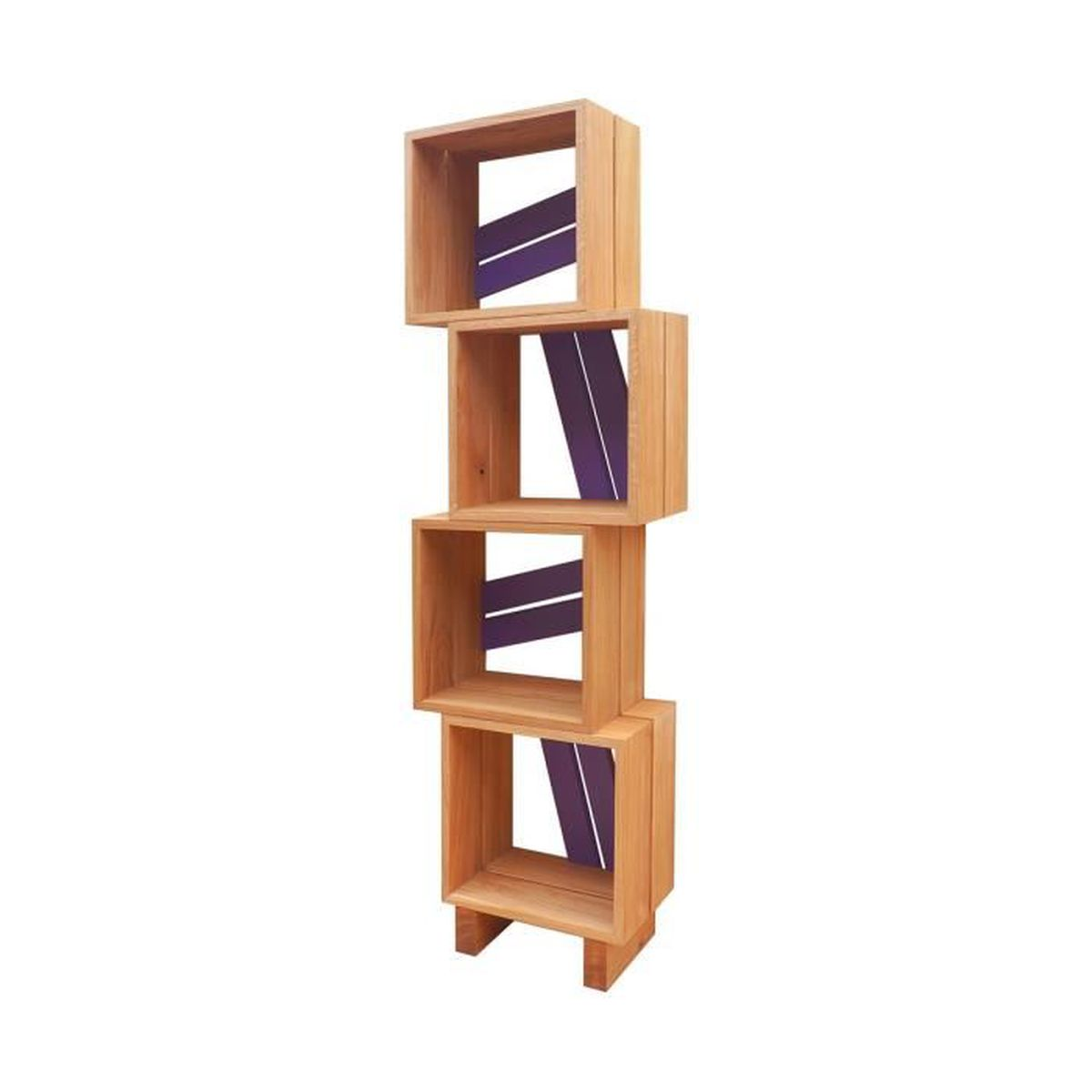 meuble biblioth que modulable 4 casiers bois et couleur violet achat vente biblioth que. Black Bedroom Furniture Sets. Home Design Ideas
