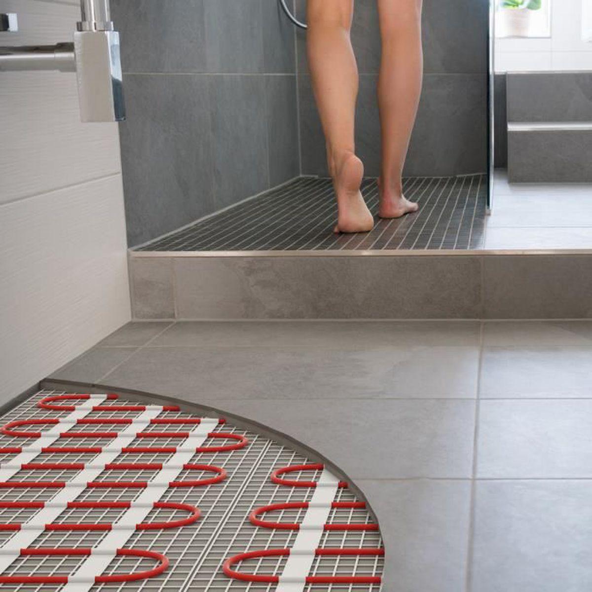 Carrelage Sur Plancher Chauffant Basse Temperature kit complet de plancher chauffant électrique 5.7 m² - 815 w - thermostat  touchscreen