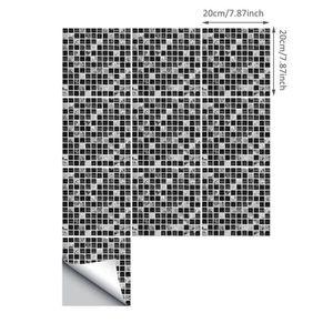 CARRELAGE - PAREMENT 10pcs mosaïque noire créative carrelage autocollan