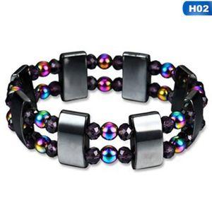 Hommes Femmes Rainbow Noir Magnétique Bracelet Perles Hématite Pierre Santé Bijoux