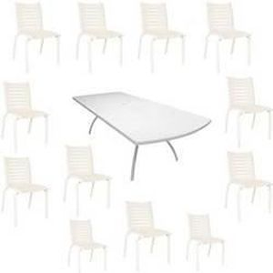Salon Floris blanc : 1 table + 12 chaises - Achat / Vente salon de ...