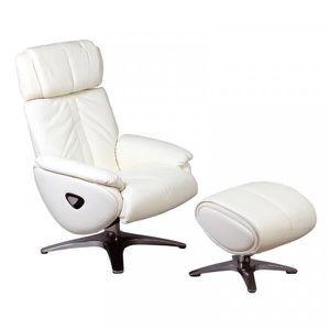 Fauteuil de Relaxation inclinable en Simili Cuir Blanc CADENTRO