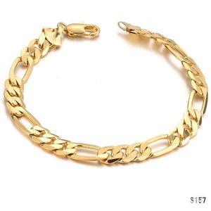 BRACELET - GOURMETTE CZ Bracelet à maillons gourmette plaqué or pour ho