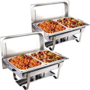 CHAUFFE-PLAT Chafing Dish Lot de 2 Chauffe Plat Couvercle avec