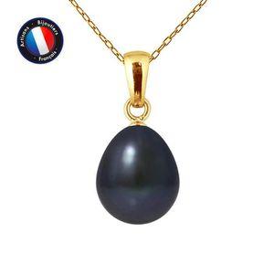 SAUTOIR ET COLLIER Pendentif - Perle de Culture d'Eau Douce Noir 9-10