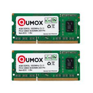 MÉMOIRE RAM QUMOX  8Go (2x 4Go) 1600MHz DDR3 DDR3L PC3-12800 -