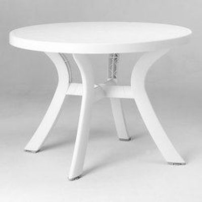 Table ronde blanche O 100 cm Bergame - Achat / Vente table ...