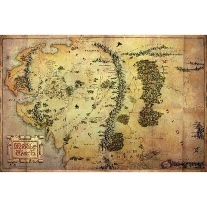 Le Hobbit Poster Carte De La Terre Du Milieu Achat Vente Affiche Poster Cdiscount