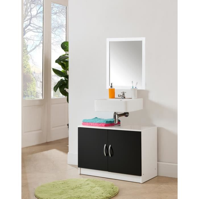 meuble sous vier 80 cm 2 portes blanc et noir achat vente armoire de toilette meuble. Black Bedroom Furniture Sets. Home Design Ideas