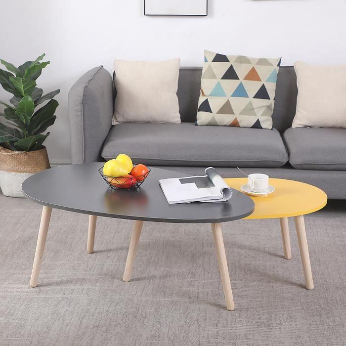 KEKE-lot de 2 TABLES BASSE, Ovale, Style Scandinave, grand gris foncé et petit jaune,98*60*40 88*48*34cm