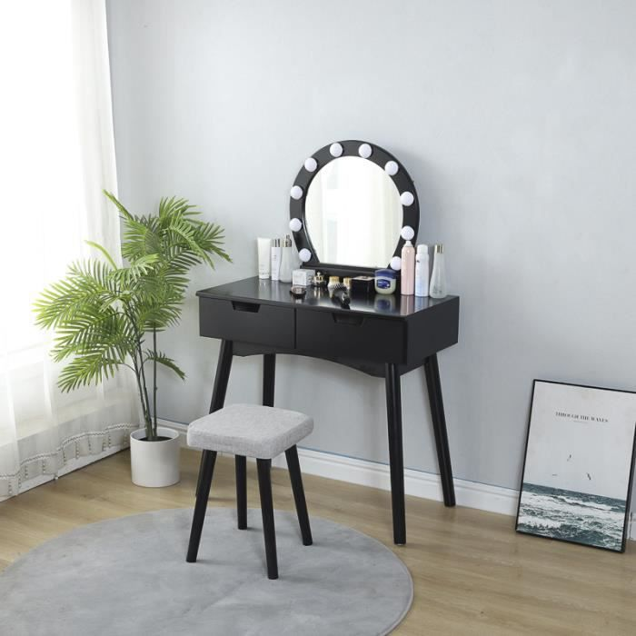 Coiffeuse Noir avec Miroir et Lampe à LED Table de Maquillage Design scandinave