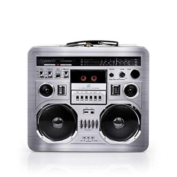 Coffret Multi-Jeux DFW3A fourre-tout rétro de boîte à lunch radio boombox radio - marchandises inspirées des années 1980 - accessoir
