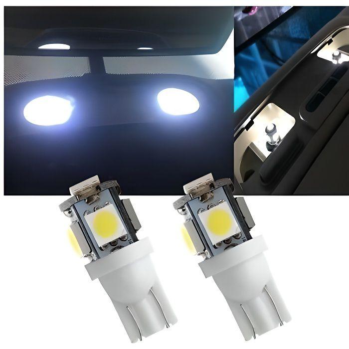 2 ampoule T10 LED W5W SMD Veilleuse Blanche 6000K pour lumière intérieur Voiture 12v