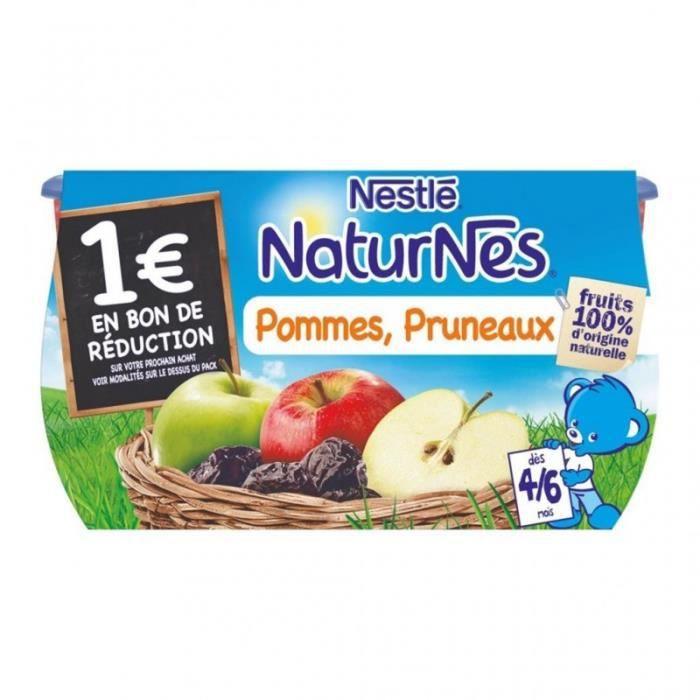 Nestlé Naturnes Pommes Pruneaux (dès 4-6 mois) par 4 pots de 130g (lot de 6 soit 24 pots)