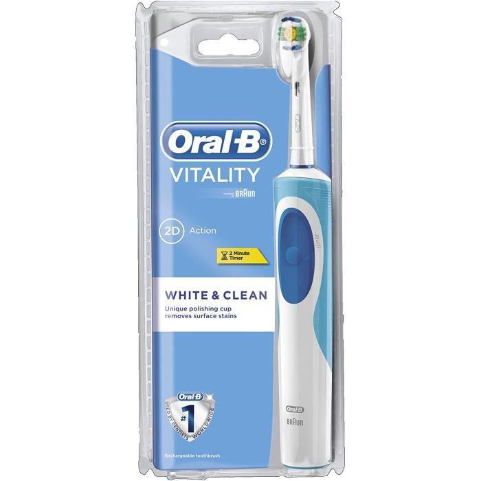 Oral-B Vitality White Plus Clean - Brosse à Dents Électrique Rechargeable - Minuteur Intégré White Plus Clean