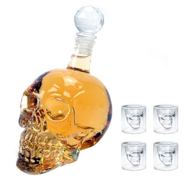 5 pièces set-320ML Bouteille de Vin Forme de Crâne de Crystal Carafe à Décanter Whisky Vodka + 4 Verres de Crâne