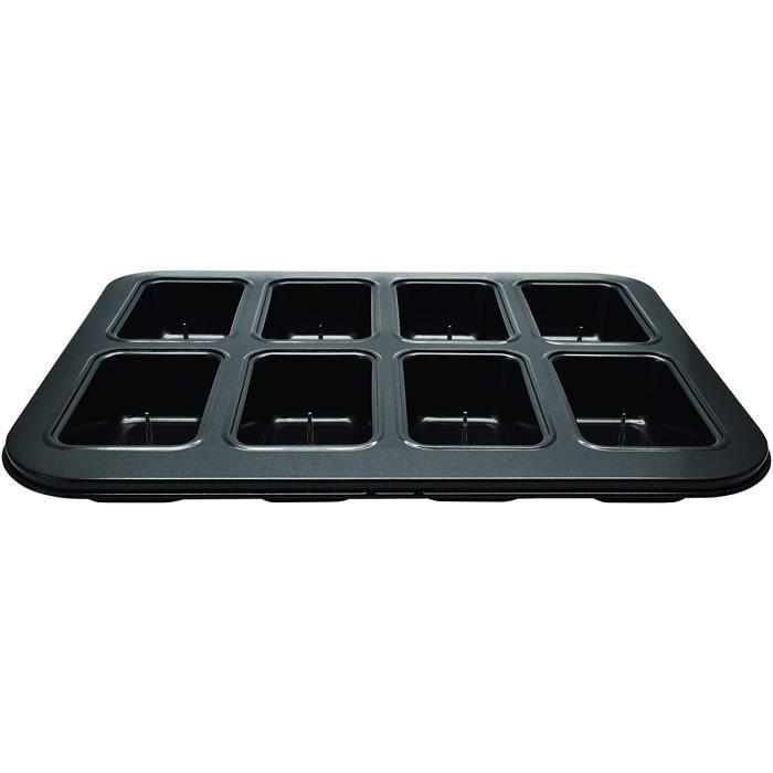CAKE r 687205 Plaque de 8 mini cakes coeligur fondant moule pour 8 fondants rectangles Acier au carbone Noir 35 x 27 x 4 cm61