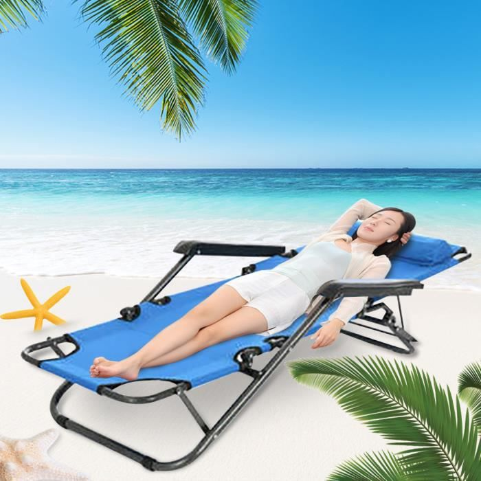 Chaise Longue Pliante Inclinable De Plage Soleil Patio Pelouse Piscine e1808