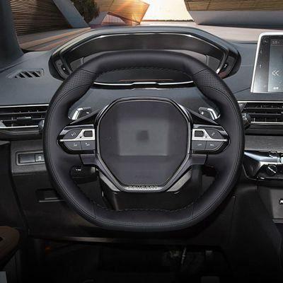 Couvre volant,Housse de volant en cuir véritable, couture à la main, pour Peugeot 3008, 4008, 5008, 2016, 2019, 508, 208, - Type 3