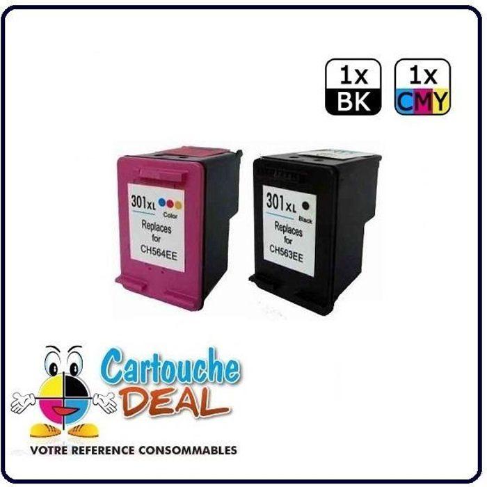 HP 301XL- OfficeJet 2620 4630 4632 Lot de 2 cartouches générique compatible HP301 XL