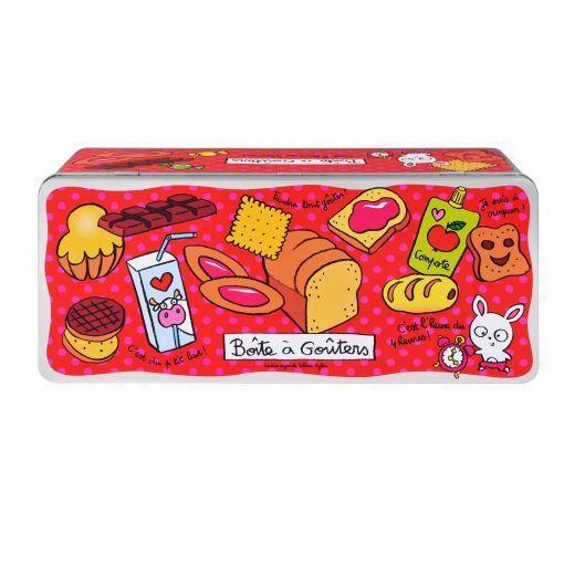 Grande Boîte à Goûters L'HEURE en Métal de Rangement Conservation pour Cuisine Gâteaux Biscuits Valérie Nylin DLP Derrière La Porte
