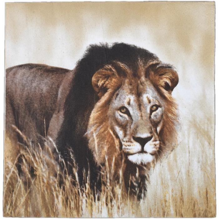 Esschert Design serviettes Lion 33 cm papier brun 3 couches