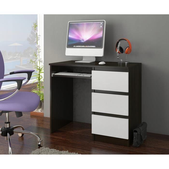 YORK R- Bureau moderne d'ordinateur 96x50x76 - Chambre Ado-Enfant - Support clavier 3 tiroirs - Wengé Blanc