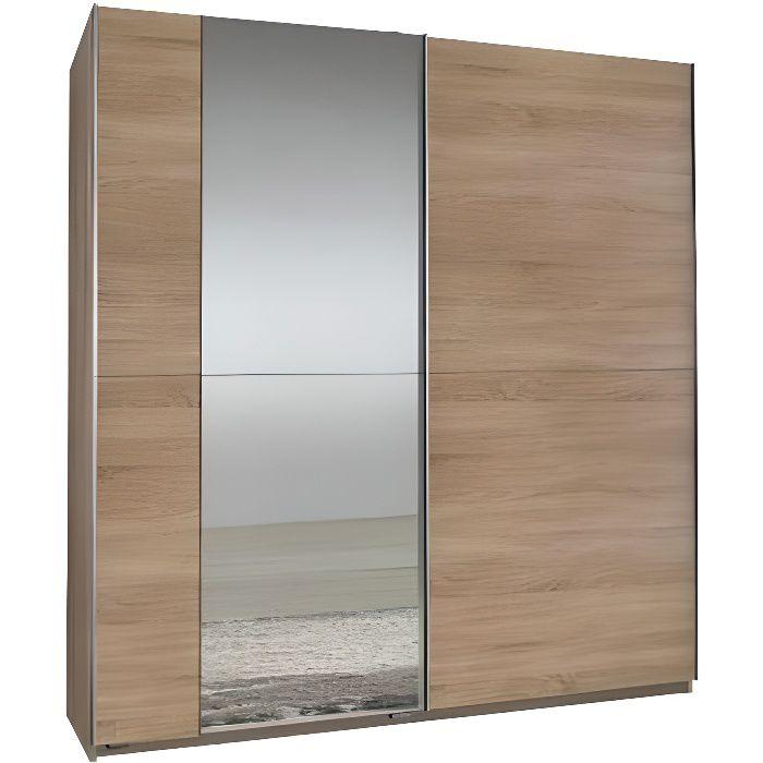 Dressing 2 portes coulissantes 1 miroir FLOYD 179 cm chêne natural Bois Inside75