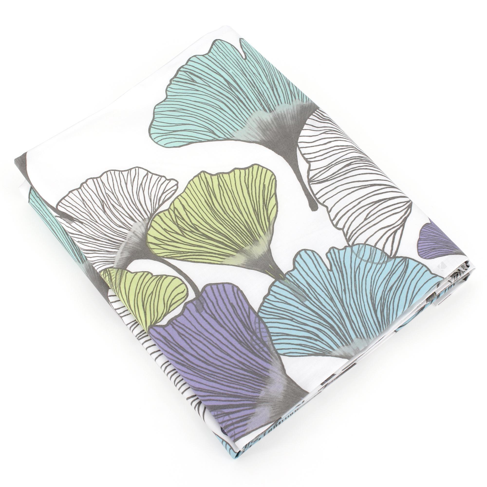 Drap plat 280x325 cm Percale pur coton GINKGO Blanc Autre Multicolore
