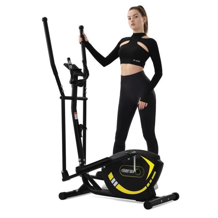 Vélo Elliptique magnétique, Masse d'inertie 5 kg, 8 niveaux de résistance, max.120 kg, Entraînement par courroie, Jaune