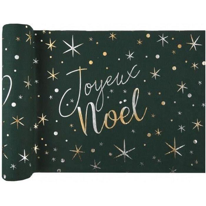 Chemin de table Joyeux Noël vert sapin 28cm x 3m (x1) REF/7454