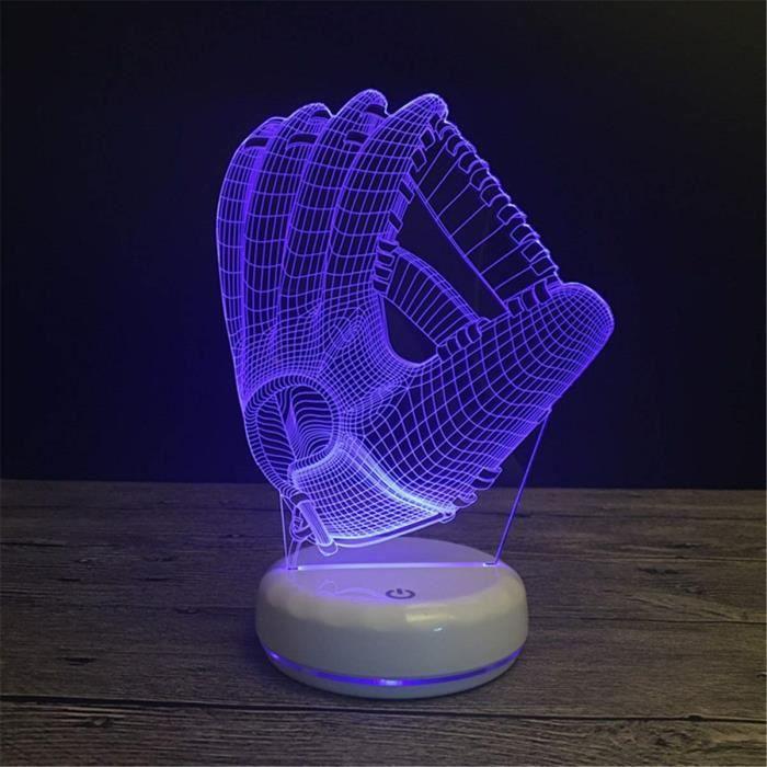 Décoratif USB Baseball Glove 3D Télécommande Optique ILLusion Night Light Lumineux Blanc Base Couleurs Table à langer La ZA718778