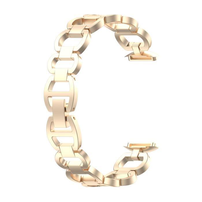 Bracelet de montre intelligente remplacement Fitbit Luxe en métal Élégant-Champagne