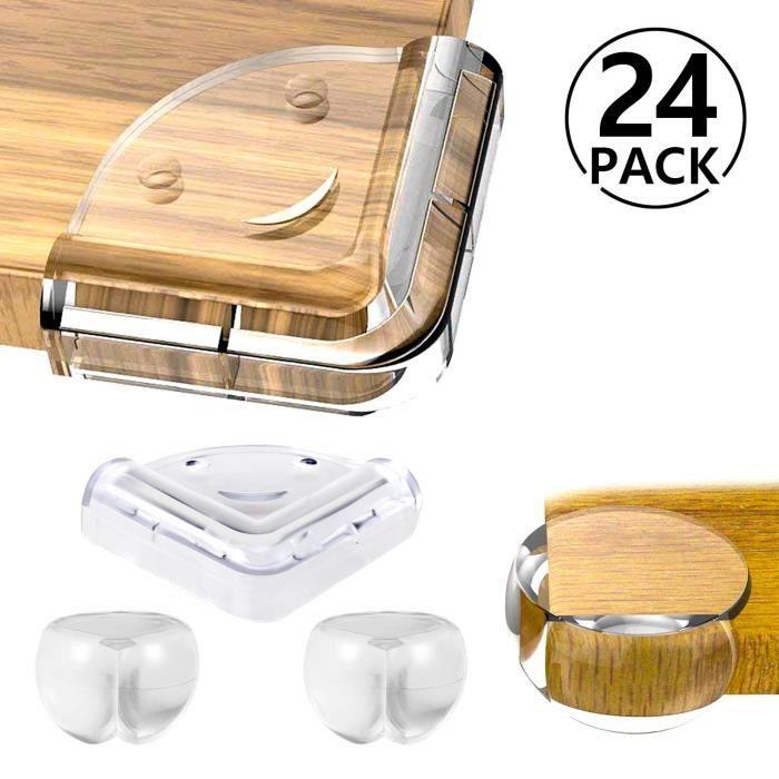 Protection Coin de Table Protection Angle Pour Securite Bébé avec 3M Adhésifs pour Tables Meubles Pointus 24 Pièces Transparente