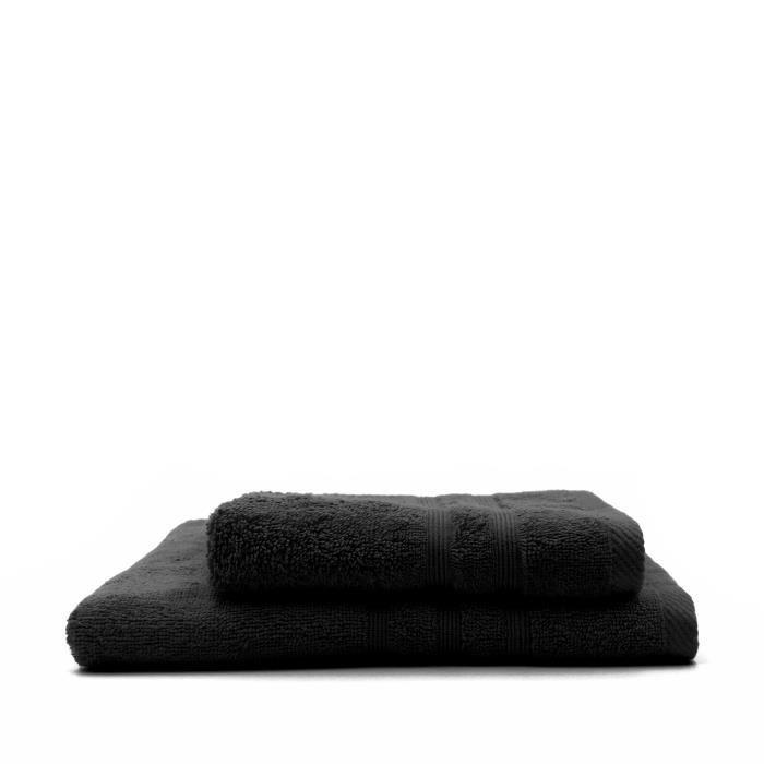 TODAY Lot de 1 Serviette de bain 50 x 100 cm + 1 Drap de bain 70 x 130 cm Reglisse - 100% coton