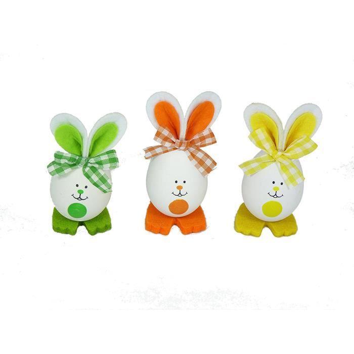 TRIXES Lot de 3 Décorations de Lapins Oeufs Lapins de Pâques Vert - Orange - Jaune