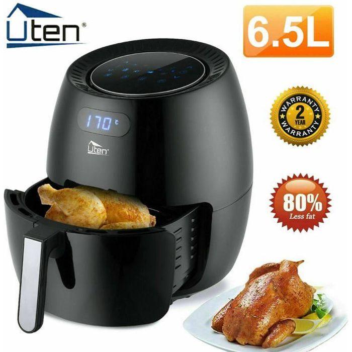 Uten® Friteuse à Air Électrique 6.5L, Friteuse sans Huile Écran Tactile LED