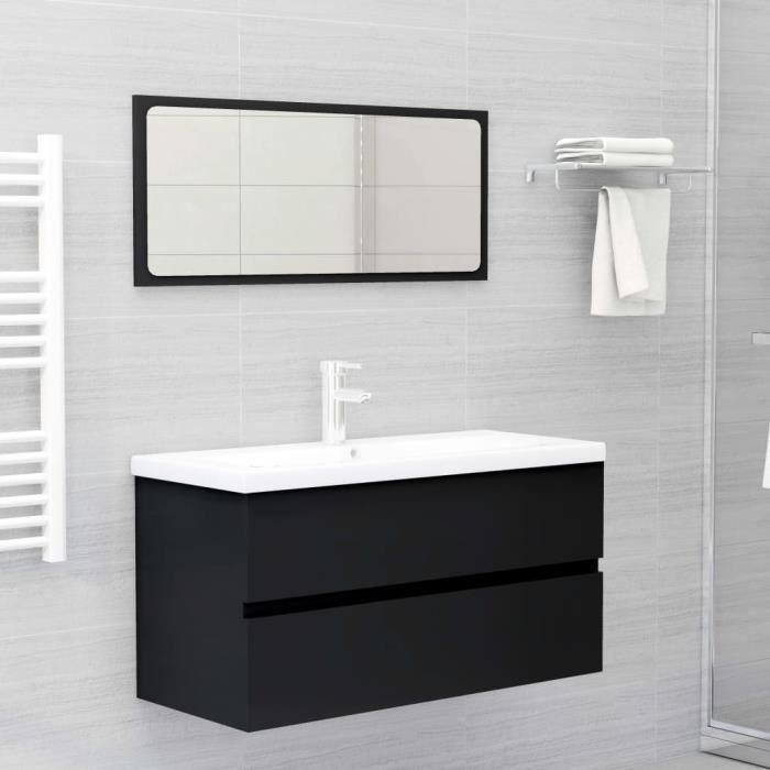 Ensemble de meubles de salle de bain. vidaXL-Noir Aggloméré