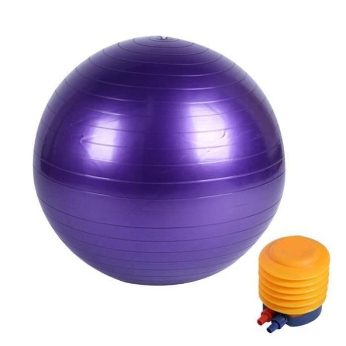 QQ32745-Boule de yoga lisse +pompe à air Boule d'exercice fitness gym de 55 cm violet